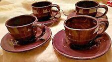 Pottery Barn Coffee Cup Mugs Saucers SAUSALITO  FIG PURPLE Set of 4