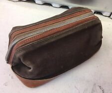 Vintage Two Tone Brown Leather And Canvas Men's Toiletry Dopp Bag Lord & Taylor