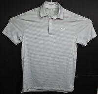 Under Armour Mens Gray Stripes Heat Gear Short Sleeve Golf Polo Shirt Medium EUC