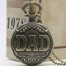 Antique Style Vintage DAD Bronze Quartz Big Pocket Watch Necklace Chain Gift P38