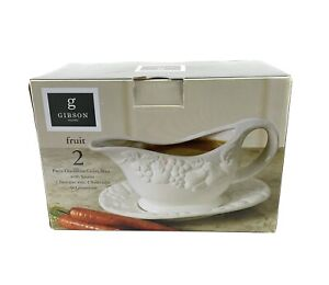 Gibson Home Gravy Boat with Saucer 2 Piece Durastone New Home