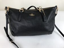"""NWT COACH PEBBLE LEATHER """"ALLY"""" SATCHEL/CROSSBODY BAG IN BLACK  with GOLD F30565"""