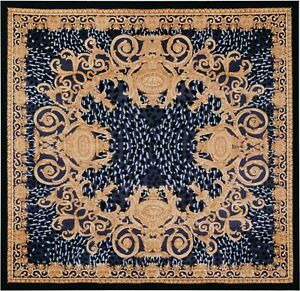 100% Silk Italian Versace style Gold, Blue, and Black Square Rugs sku VS03si