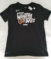 NIKE CLEAVLAND CAVS WOMENS BLACK TEE WHAT EVER IT TAKES PLAYOFFS SHORT SLEEVE...