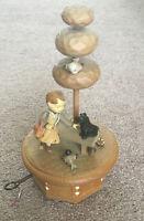 "Vintage Thorens Music Box - Plays ""Gigi"" - Girl & Dog On A Bench Under A Tree"