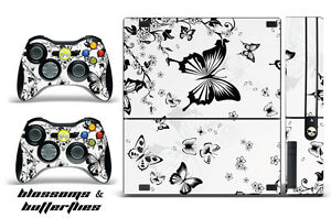 Skin Decal Wrap for Xbox 360 E Gaming Console & Controller Sticker Design BFLY W