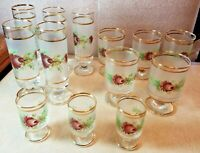 Vintage Lot of 13 Frosted Cordial Glasses Gold Accents Signed Floral Design