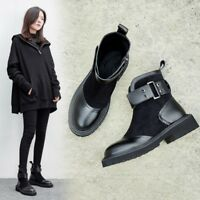 Womens Low Block heel shoes Round toe Buckle Decor Side zip Ankle boots Fashion