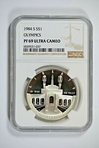 1984-S NGC PF69 ULTRA CAMEO Olympics Commemorative Silver Dollar-Price Guide $40