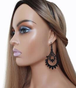 Gorgeous 8cm long black metal & diamante chandelier style big drop earrings