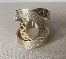 New Chanel Gold Stone CC Cuff Bracelet Bangle *Stunning*