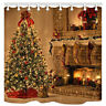 Retro christmas tree fireplace Bath Shower Curtain Waterproof Polyester Fabric