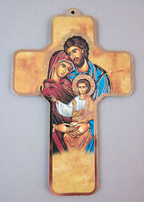 """Holy Family Icon Picture Wall Cross on Wood  5"""" Made in Italy"""