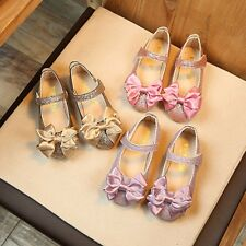 Baby Girls Kids Fashion Princess Bowknot Dance Nubuck Sandals Leather Shoes
