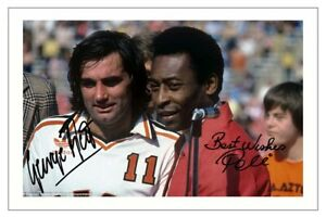GEORGE BEST & PELE Signed Autograph PHOTO Signature Fan Gift Print Soccer