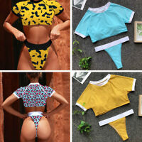 Fashion Women Leopard Print Swimwear Two Pieces Tankini Swimsuit G-string Bikini