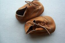 Vintage pair Doll Bear Primitive Brown Leather Shoes with Strings