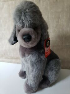 "Vintage Pluti Nova Germany Poodle Dog Plush , Tag attached. Gray, 13"" tall"