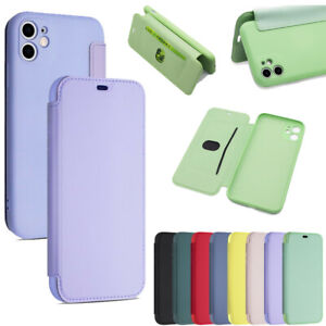 For iPhone 12 11 Pro Max 7 8 X XR XS Max Liquid Silicone Flip Case Wallet Cover