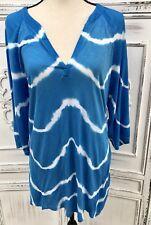 Size S M XCVI Aqua Blue White Tie Dye Breezy Tunic Top Pool Coverup Crepe Knit