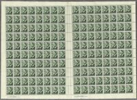 Australia 1951 3d KGVI Green Full Sheet 160 Stamps Base Perf Pip SG237d MUH 8-21