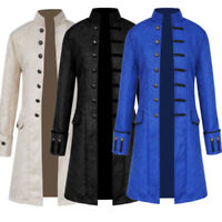 Ruanyu Mens Steampunk Vintage Tailcoat Jacket Gothic Victorian Frock Black Steampunk Coat Uniform Costume
