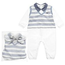 NWT NEW Armani Junior baby boys navy blue stripe jersey romper 12m
