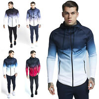 Men's Casual Sports Hoodie Printed Sweatshirts Pullover Full Zip Up with Pockets