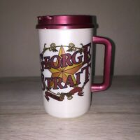 NEW George Straight On Tour Maroon White Plastic Mug Cup Lid Handle Straw 32 OZ