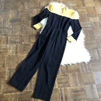 St John Sz 2 Long Sleeve Jumpsuit Santana Knit Gold Hardware Yellow Black