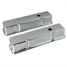 CHROME TALL FLAMED VALVE COVERS (PAIR) CHEVROLET CHEVY SBC 283 305 350 400