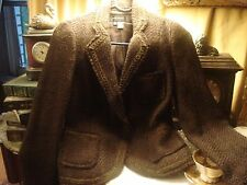Zara Brown  Jacket Blazer with Ribbon Detailing Wool Blend  size 4