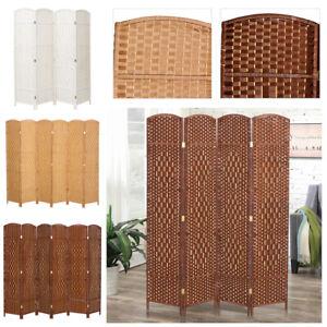 Wood Privacy Screen Room Divider Folding Freestanding Rattan Imitated Restaurant