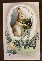 ~White Bunny Rabbit~with Basket of Flowers~Egg~Antique ~Easter Postcard-p37