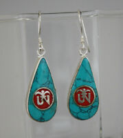 Asian Sterling silver earrings Turquoise and coral stone Handmade jewelry GLE38