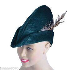 Adult Mens Ladies Green Felt Robin Hood Pixie Peter Pan Fancy Dress Costume Hat