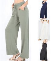 Women's Lounge Pants Long Wide Leg Soft Jersey Knit Palazzo Drawstring Loose