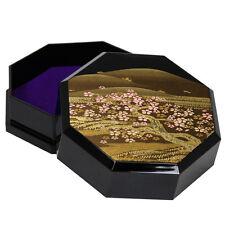 "Japanese Box Black Cherry Tree & Golden Mountain Design Lacquer Finish OCT 4.5"""
