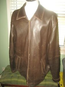 MEN'S JOS A BANK SIGNATURE COLLECTION BROWN DISTRESSED LEATHER  JACKET sz XL