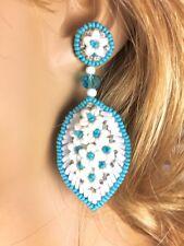 NEW SEED BEADED HANDMADE WHITE TURQUOISE BLUE FASHION HOOK EARRINGS E58/37