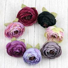 "Bulk 30P Purple 2"" Artificial Silk Flower Heads Fake Small Rose Camellia Peony"