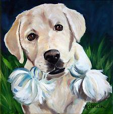 SPARROW Yellow Labs Labrador Retriever Dog Art Oil Painting Decor PRINT MSSMITH
