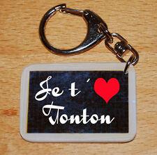 Porte-cles style ardoise d'écolier message «Je t'aime Tonton»