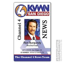 Plastic ID Card (TV & Film Prop) - Ron Burgundy ANCHORMAN Channel 4 News Pass