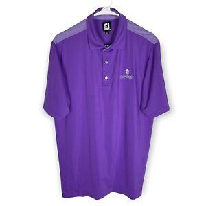 FootJoy Golf Polo Shirt Men's Medium Purple White Stretch FJ Wicking Providence