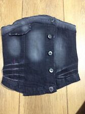 Black Denim Bustier Corset Playboy UK8 EUR36 VIntage Topshop