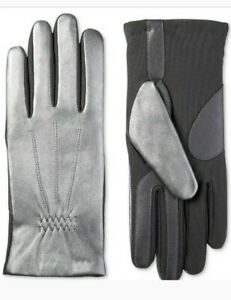 Isotoner Women's Genuine Leather Touchscreen Gloves Heat Silver/Gray $62