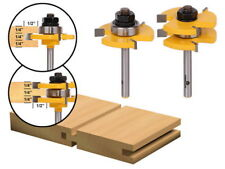 """Tongue & Groove Router Bit Set Tooth  Mortise 2 Bit T-type 1/4"""" Shank #J10"""