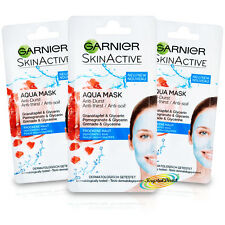 3x Garnier Dehydrated Skin Care Active Facial Face Mask 8ml Glycerin No Paraben