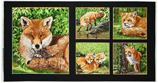 Red Foxes Panel Cotton Quilting Fabric - 60cm x 110cm